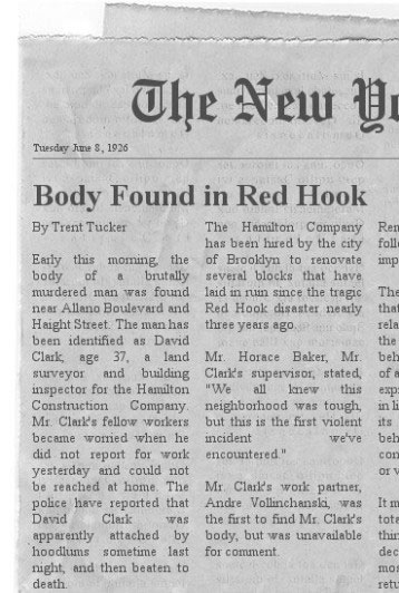 Body Found in Red Hook