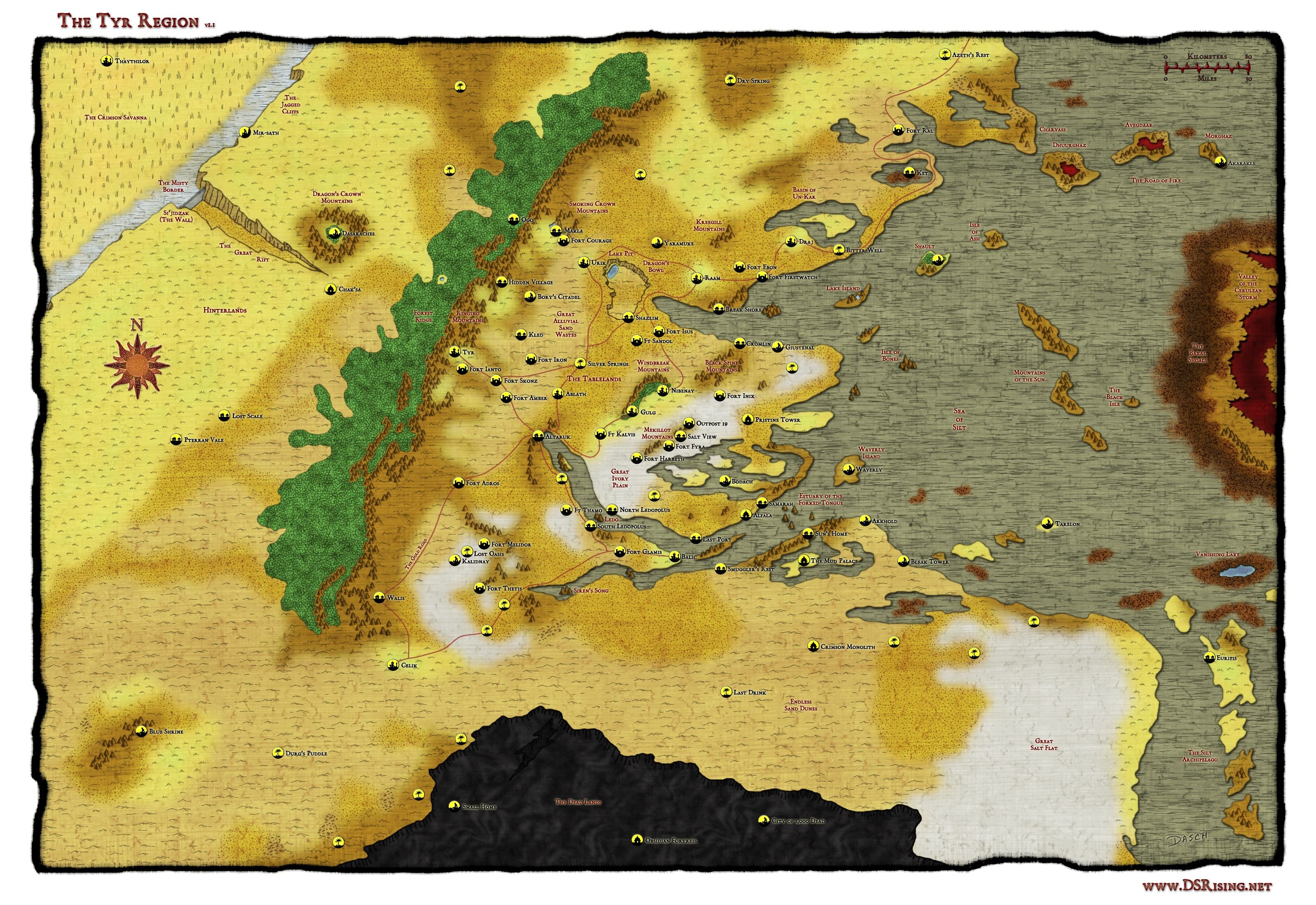 Athas World Map.Anybody Got A High Quality Tyr Region Map Image For Printing Darksun