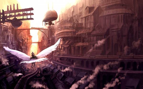 Above the city steampunk wallpaper 600x375