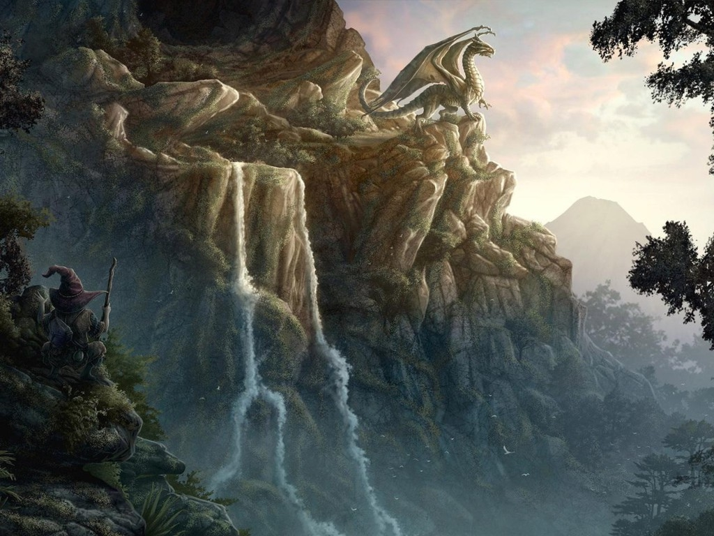 Fantasy theme with dragon overlooking landscape