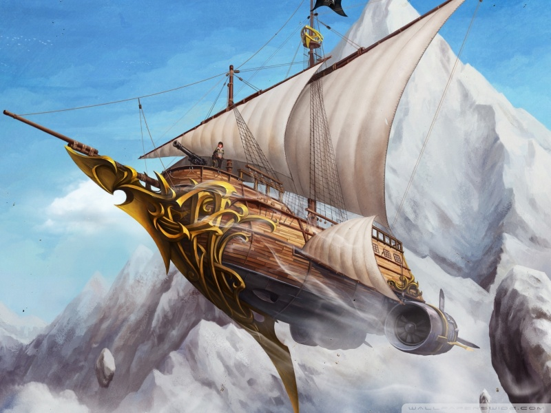 Flying ship wallpaper 800x600