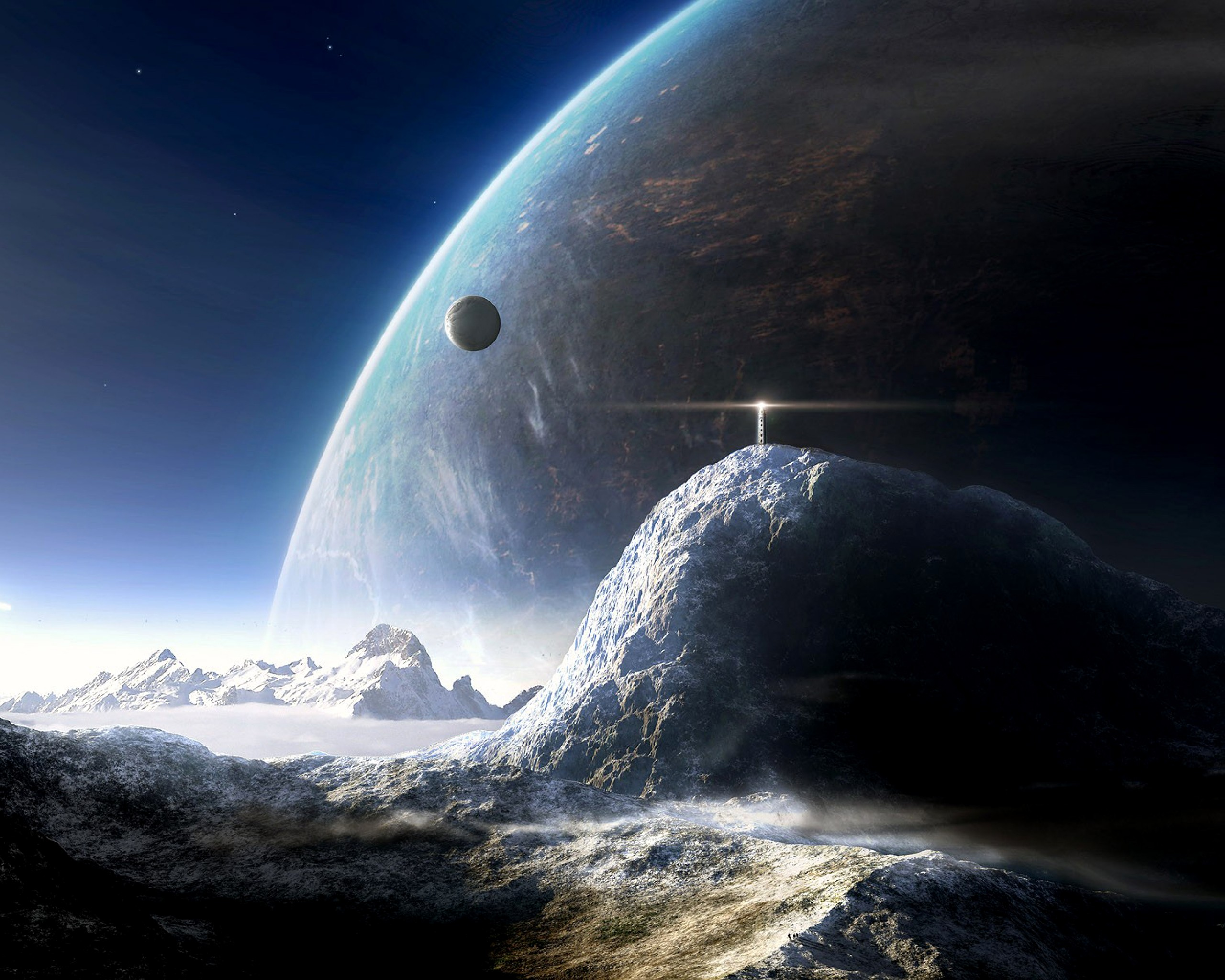 Outer space planet tower sci fi space landscape 2048x2560