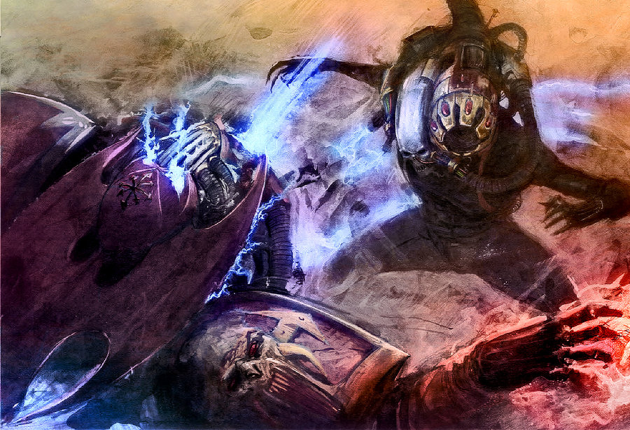 A Culexis assassin sporting black synskin and a freaky golden head aperture in the processes of kicking the crap out of a chaos space marine