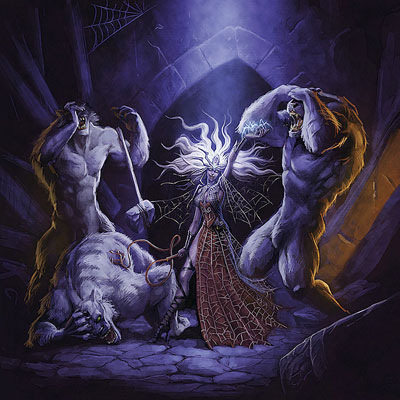 Drow female with three beasts
