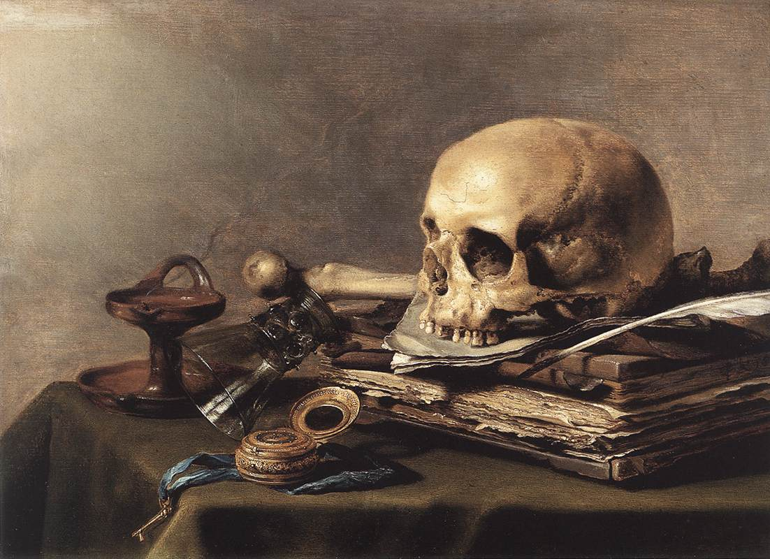Adriaen van utrecht vanitas still life with bouquet and skull 1