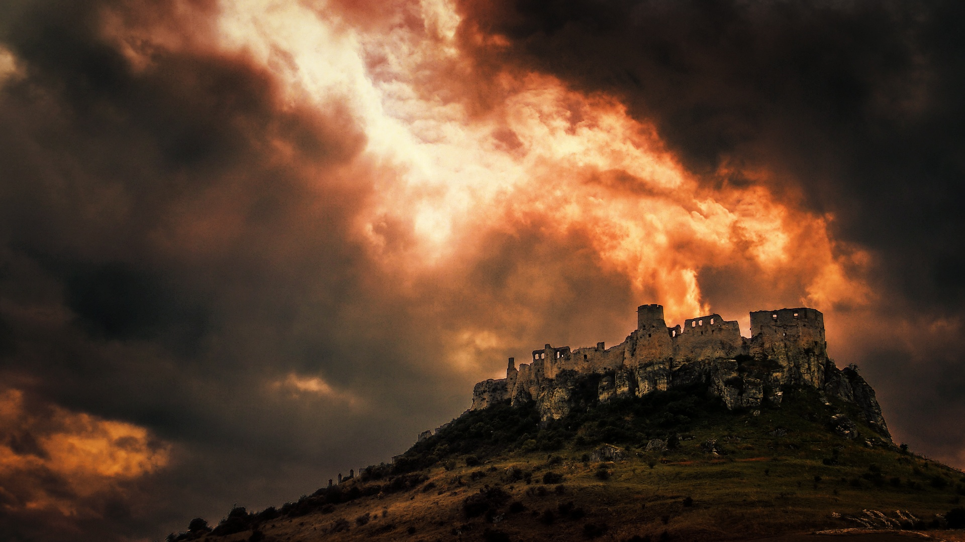 Burning castle by emmmbeee d6iqtkl