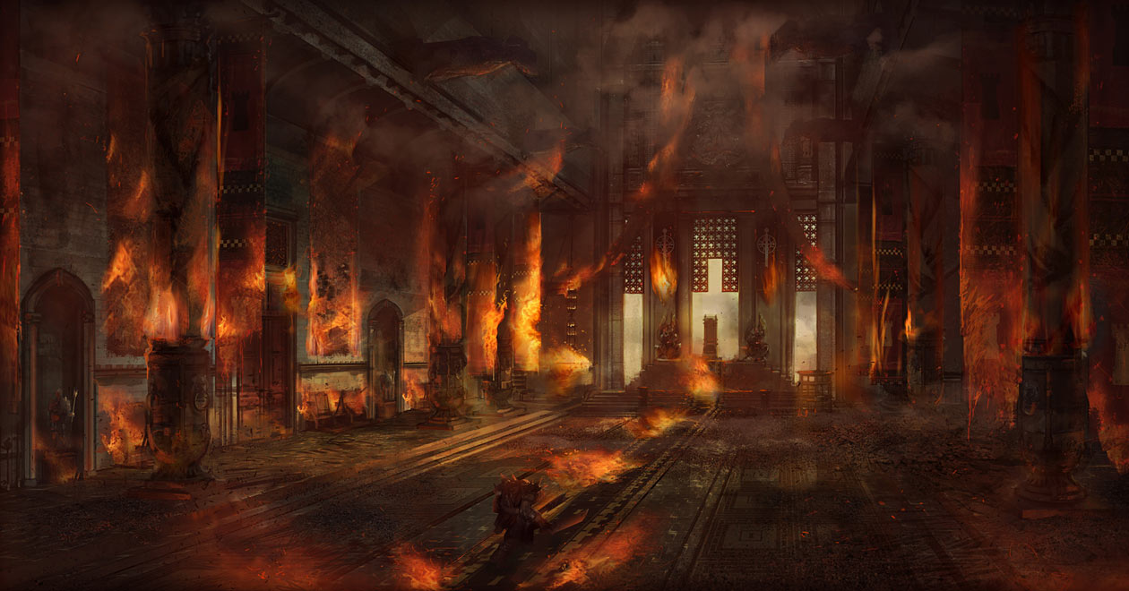 Throne room in flames