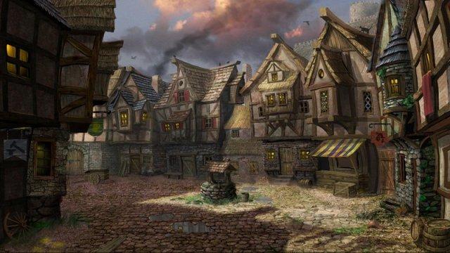 640x360 5998 alba 2d fantasy architecture village well picture image digital art
