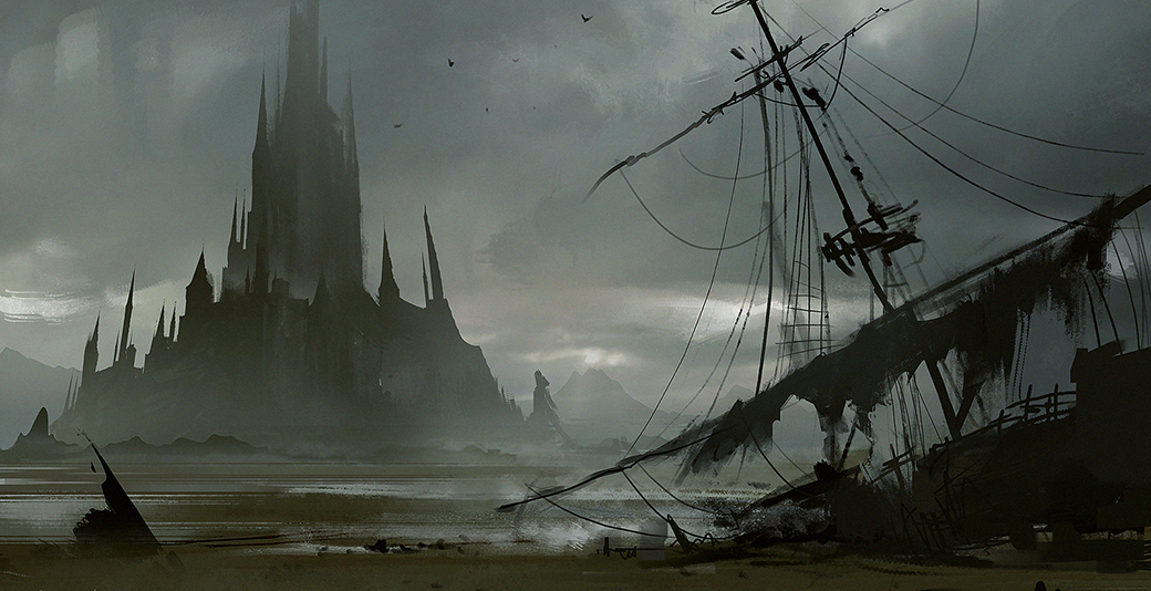Island_Castle_and_destroyed_ship_by_daRoz.jpg