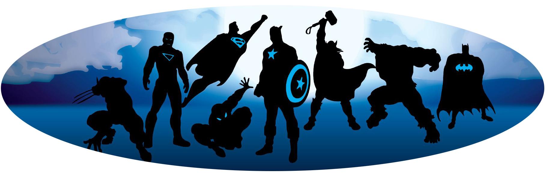 Superhero silhouette banner oval