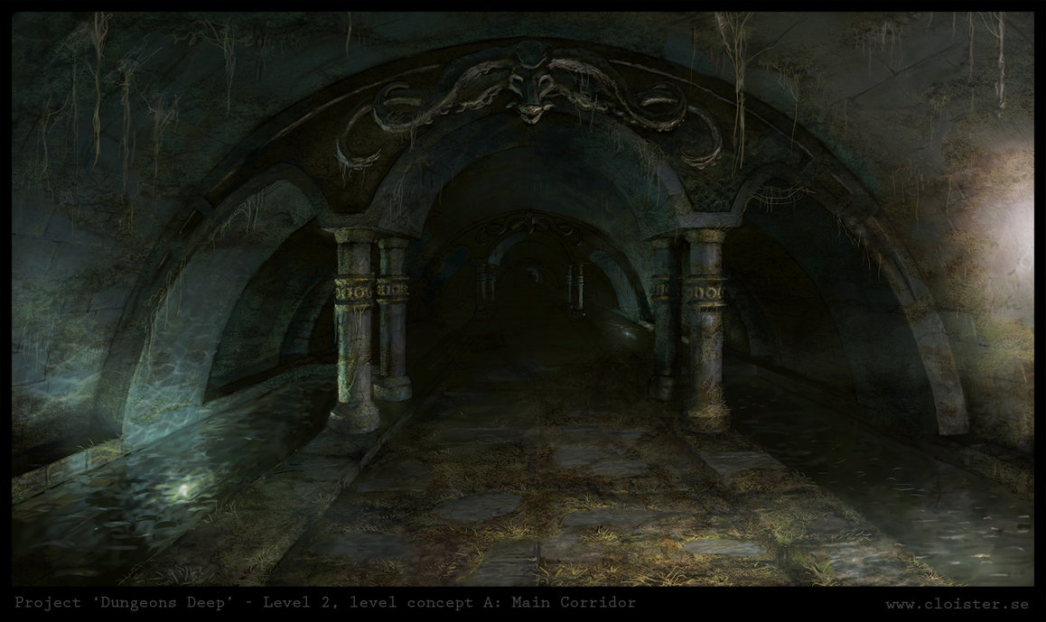 Dungeon level 2   level concept a  main corridor by cloister d4ngitg