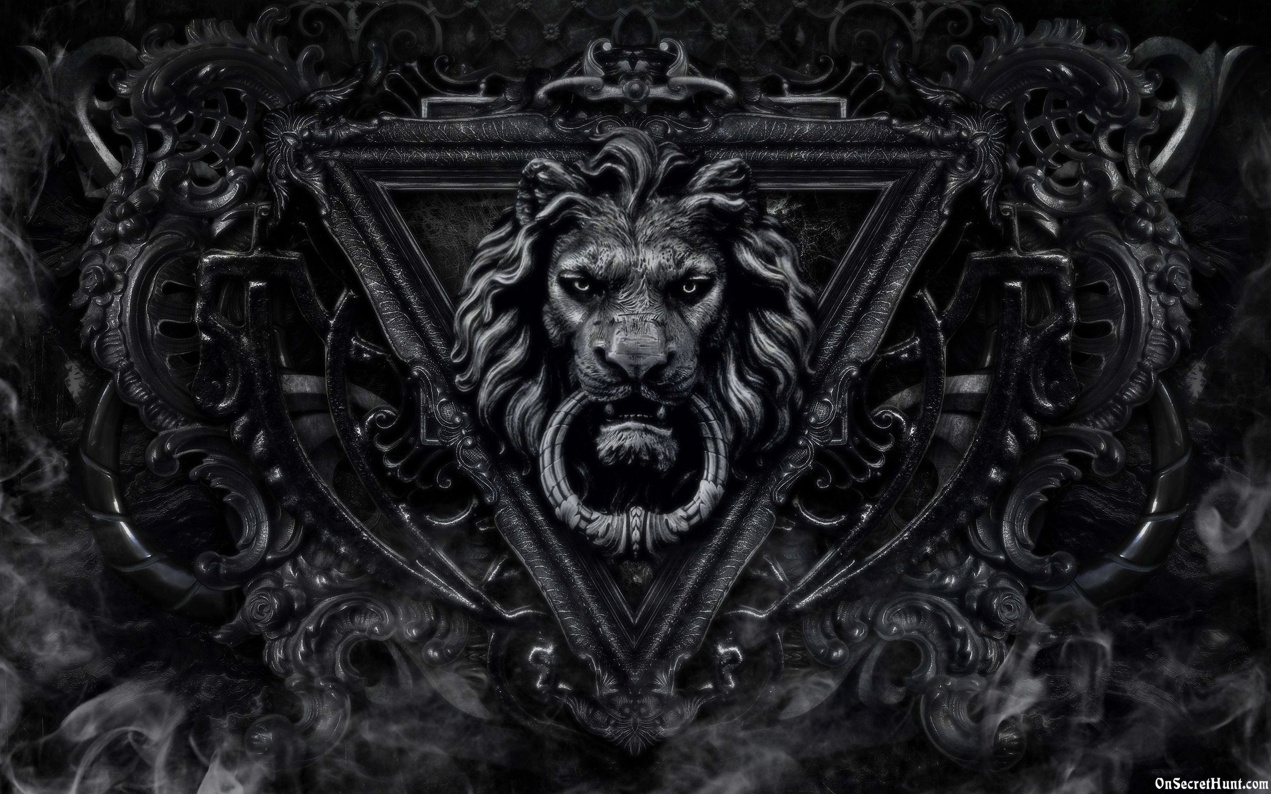 Gothic lion black background