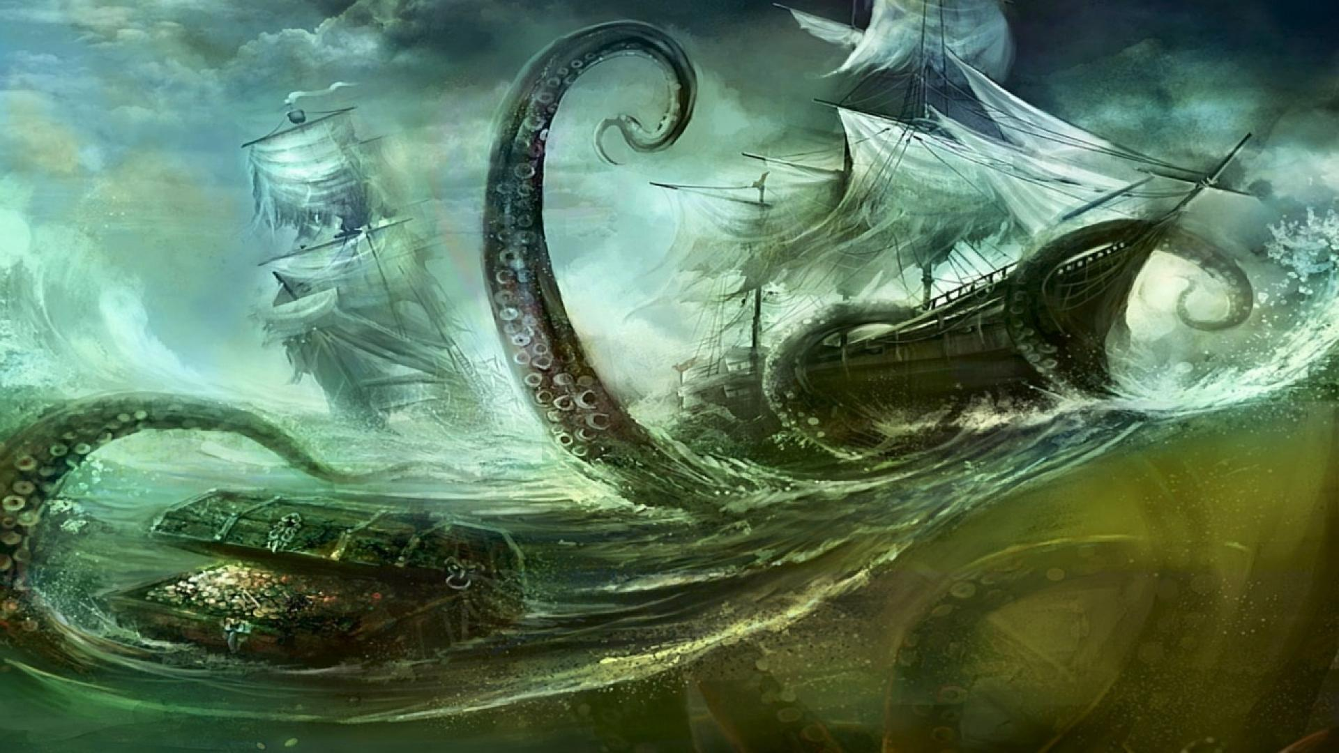 Kraken attack ships desktop 1280x800 hd wallpaper 131315