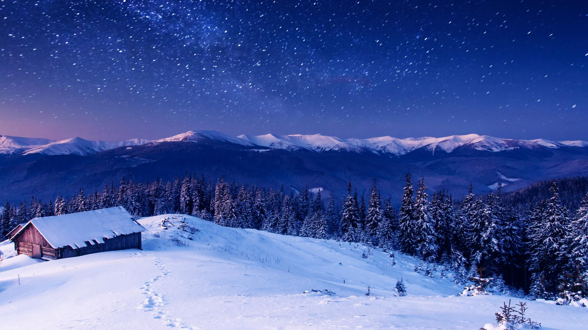 Houses mountains trees snow night stars