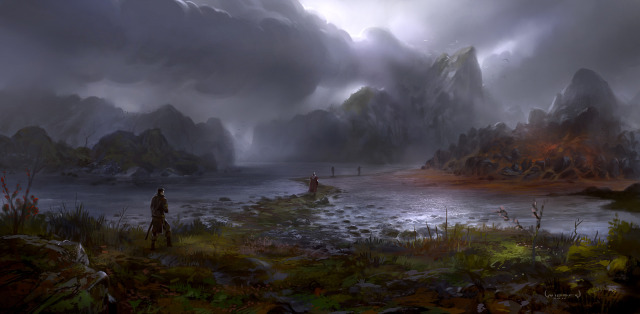 640x314 7300 the red shallows 2d fantasy landscape water adventure dark journey explorer dramatic fellowship picture