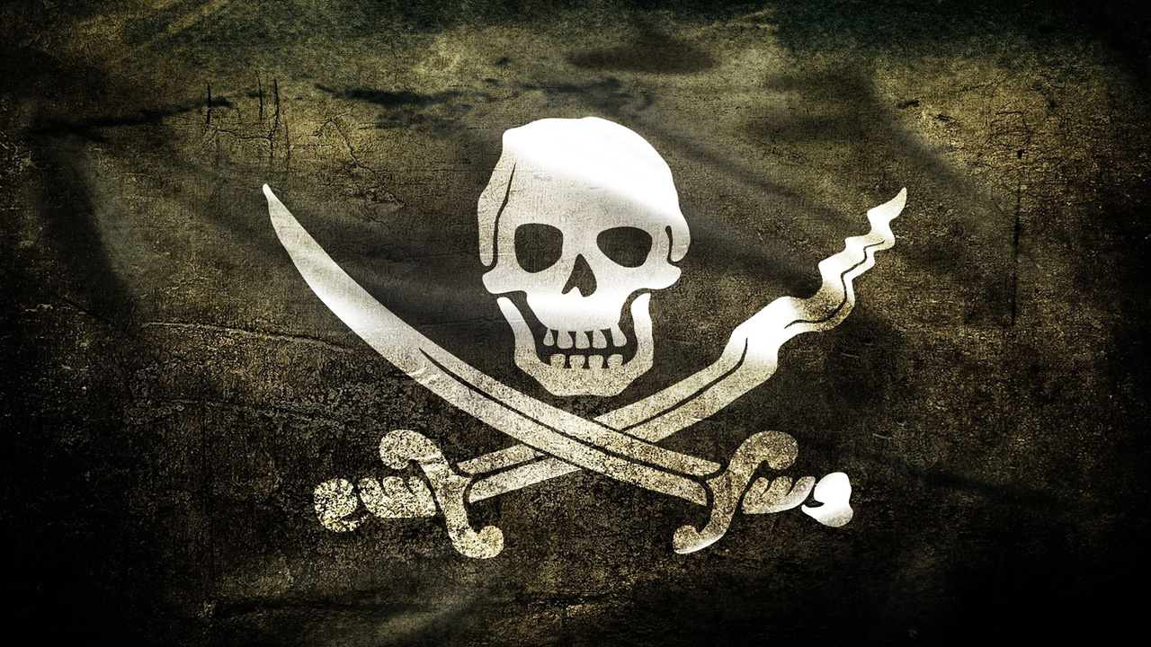 Pirate skull banner wallpaper 1280x720
