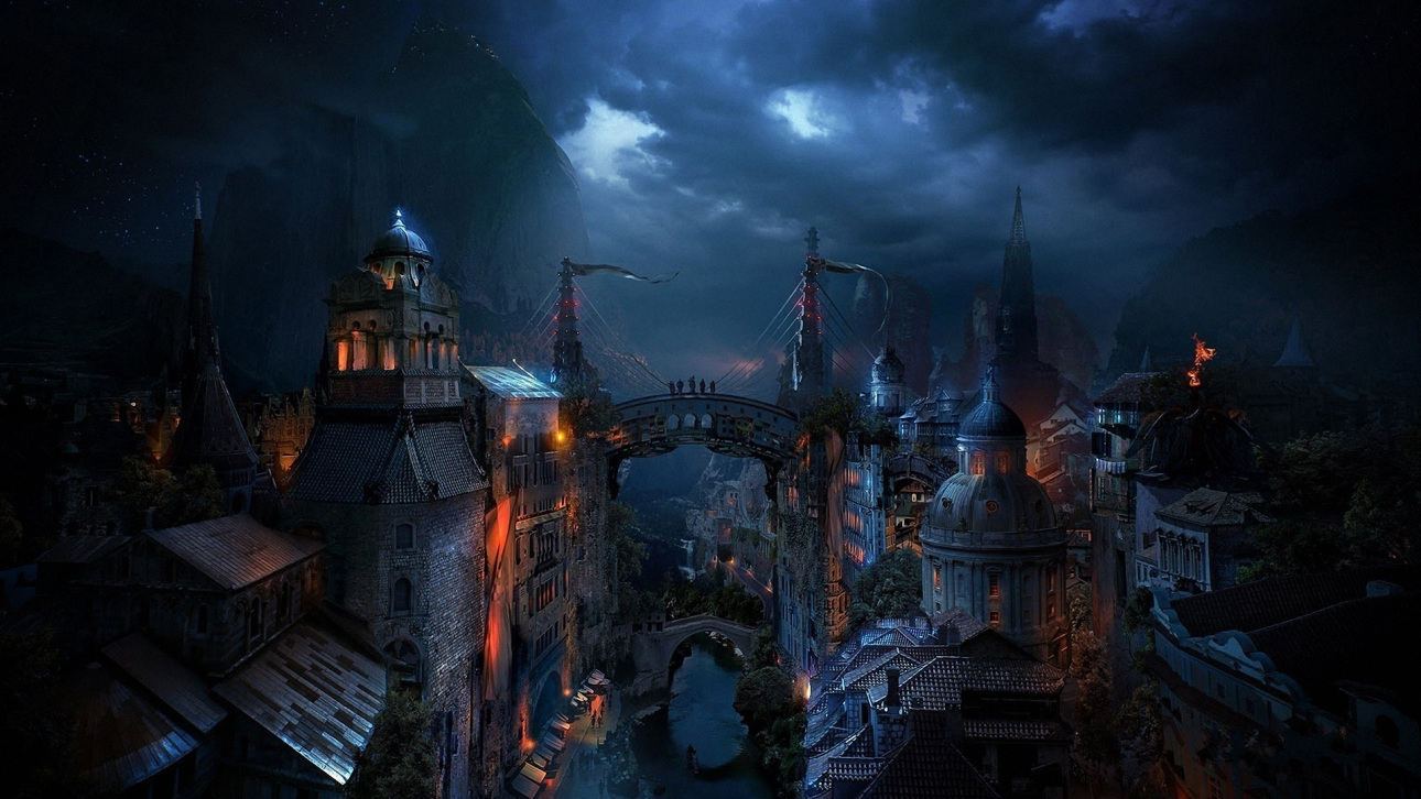 Fantasy city at night copie