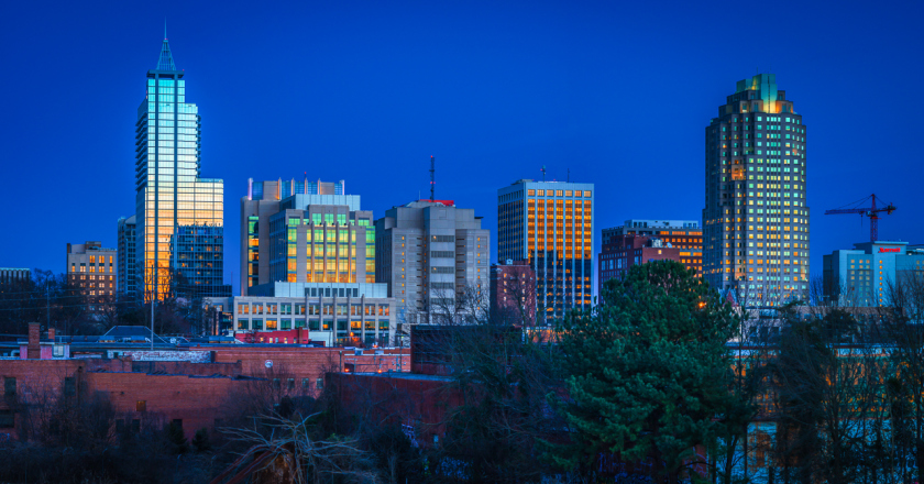 Raleigh skyline at dusk 2 3 15