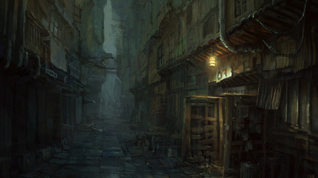 R169 457x257 565 dark alley 2d fantasy architecture picture image digital art
