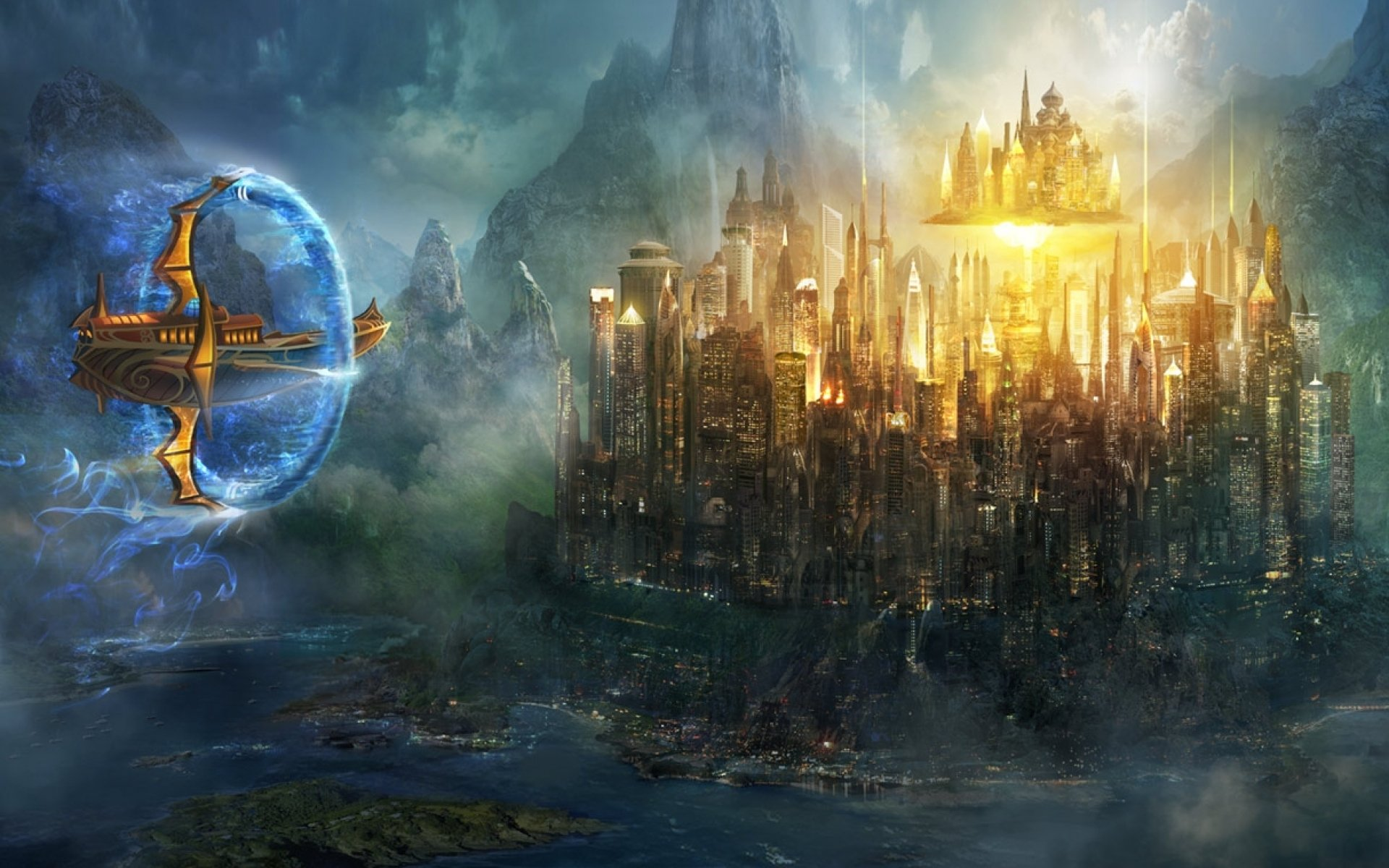 Sharn   sci fi futuristic city cities art artwork 1920x1200