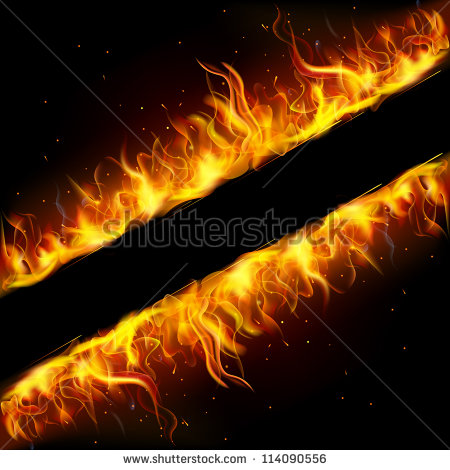 Stock vector illustration of frame made of fire flame 114090556