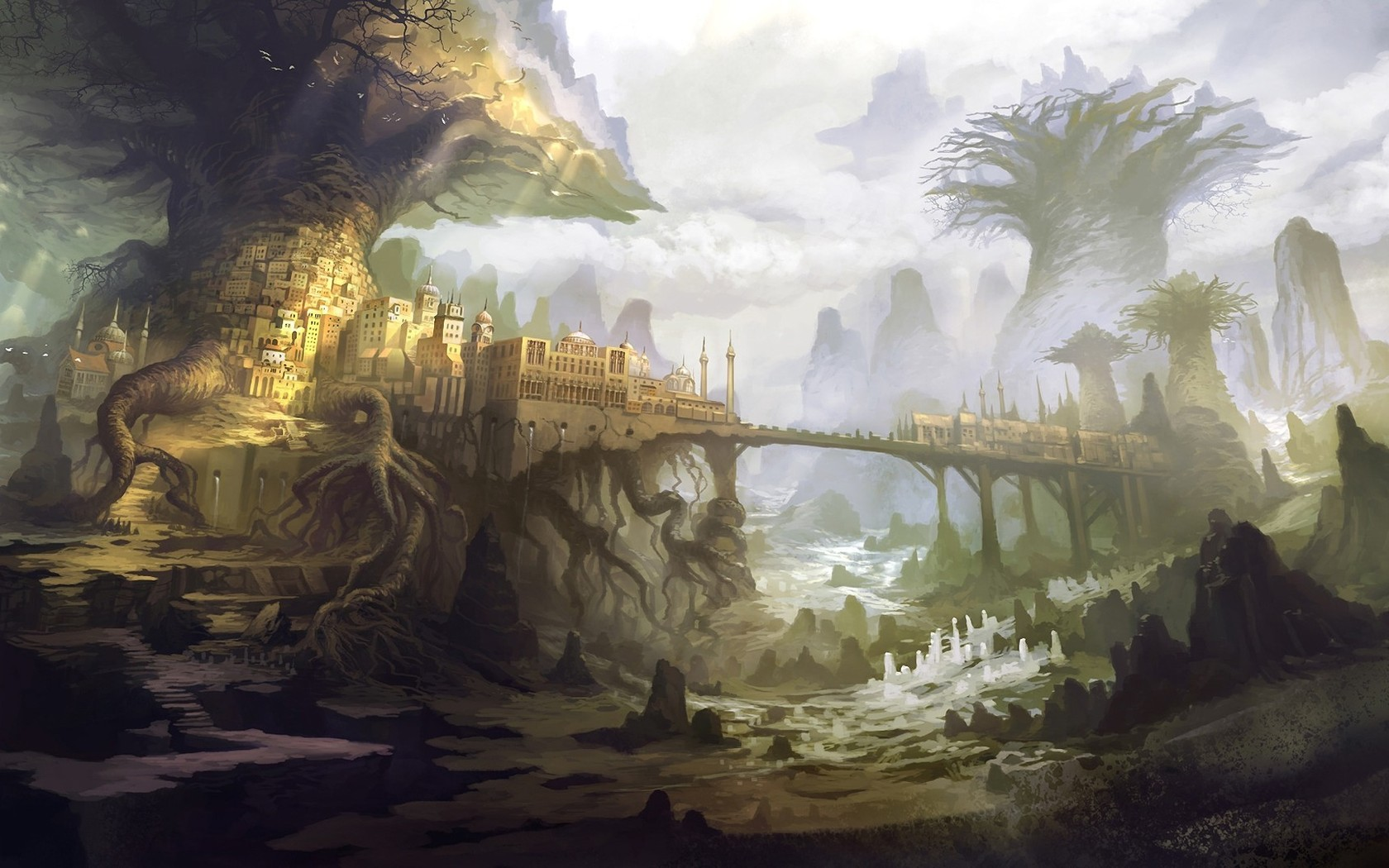 Art city trees giant fantasy world the roots hd wallpaper 421481