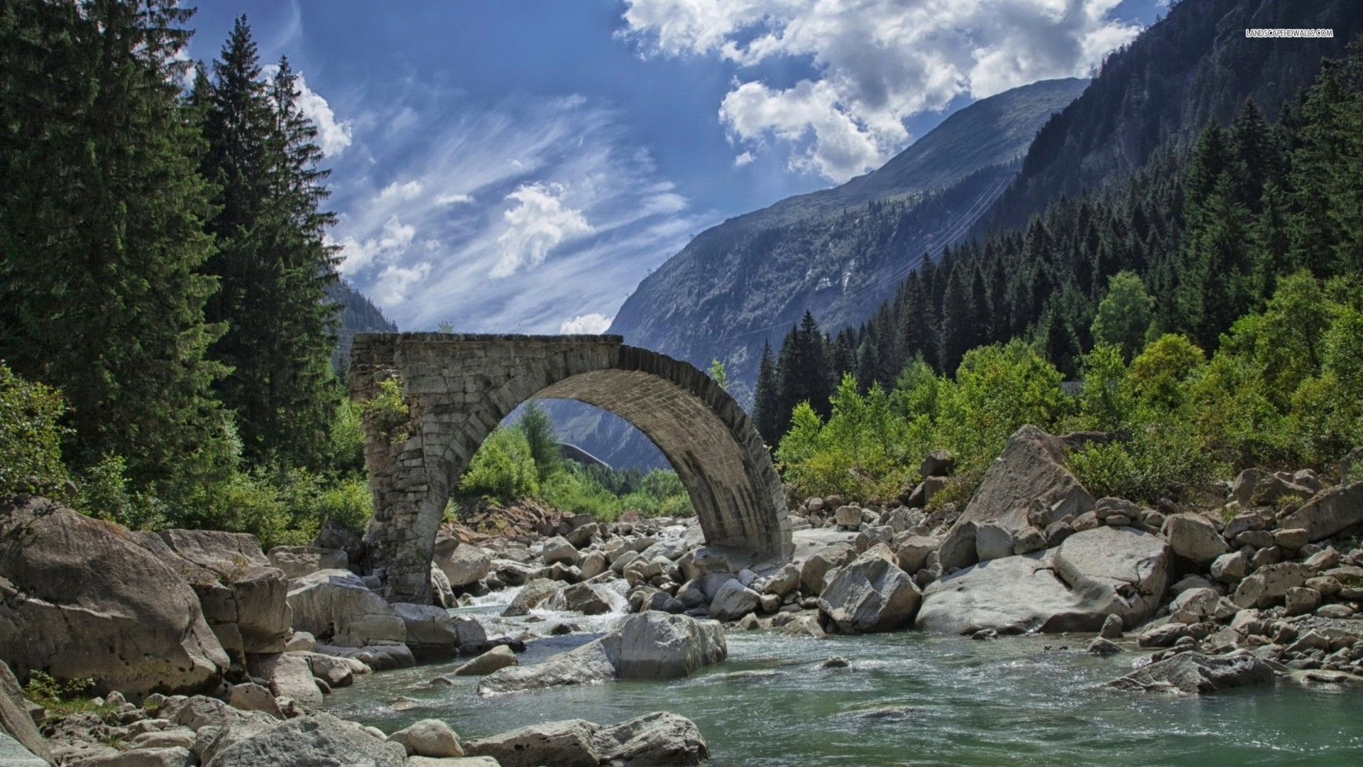 Bridge ruins in the valley 5330 1920x1080