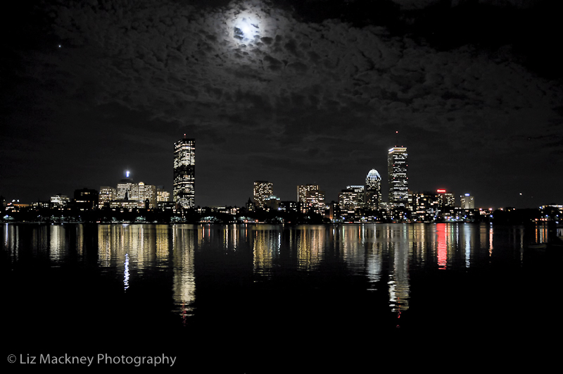 Boston skyline at night