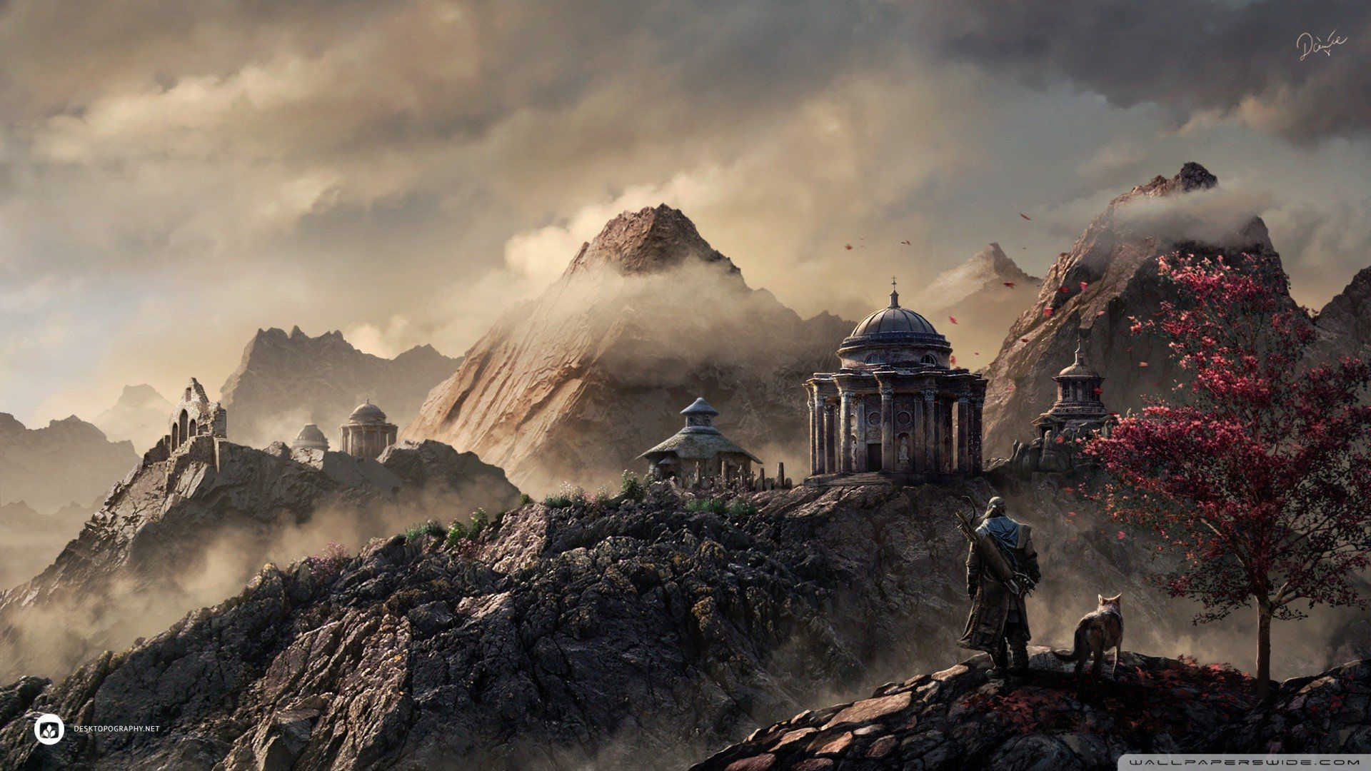 landscapes-fantasy-art-mountains-trees-wolves-archer-temple.jpg