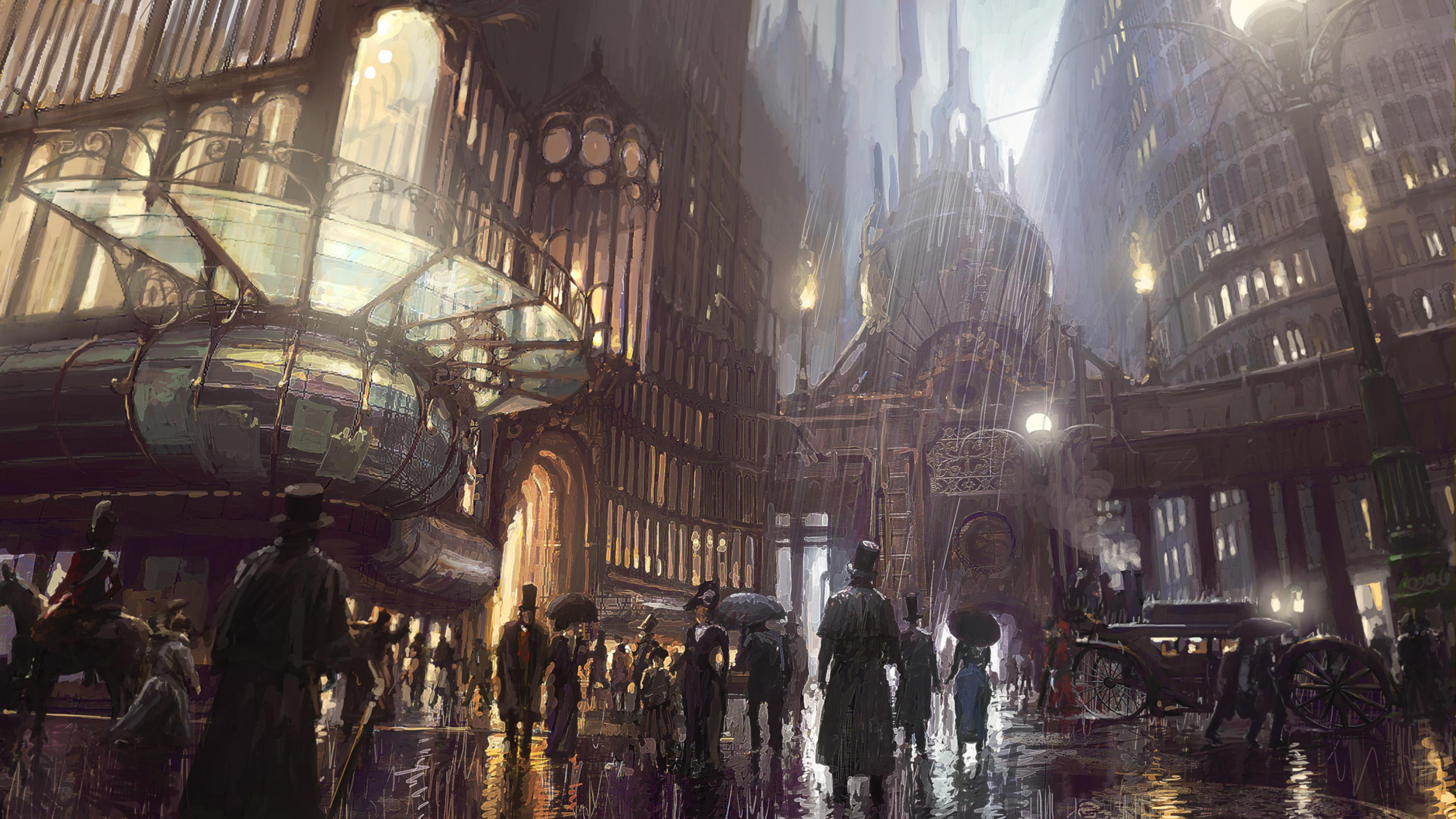 City art steampunk ultra 3840x2160 hd wallpaper 418538