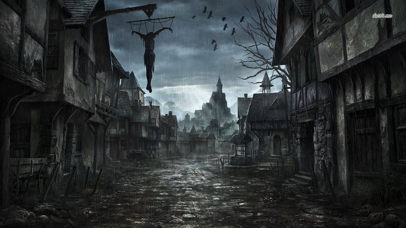 17069 scary street 1366x768 fantasy wallpaper