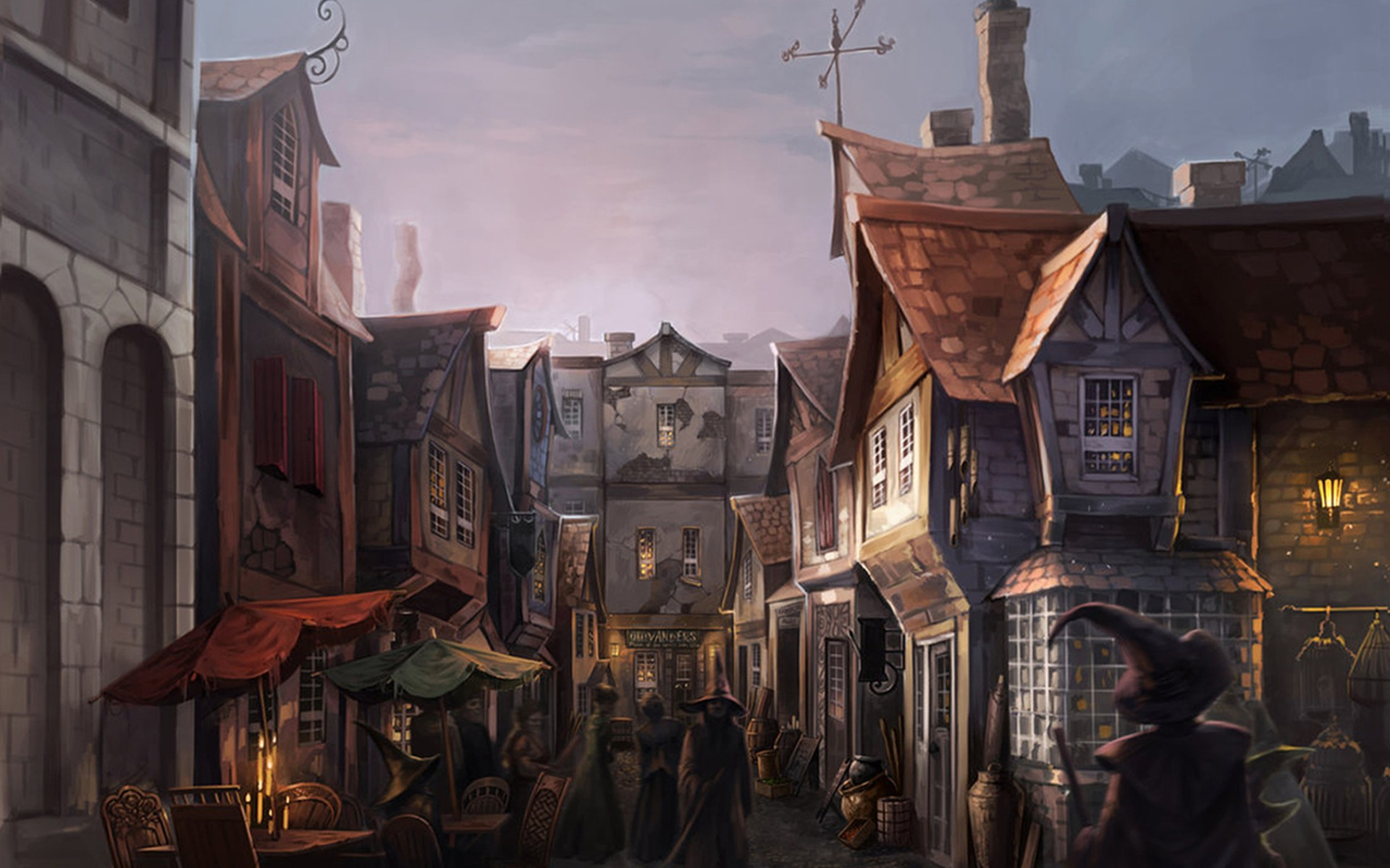 Market-harry-potter-fantasy-art-witches-fictional-landscapes-diagon-alley-4-Size-Home-Decoration-Canvas-Poster.jpg