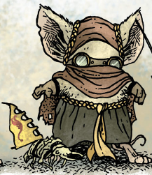 A mouse in traditional Sandmason regalia