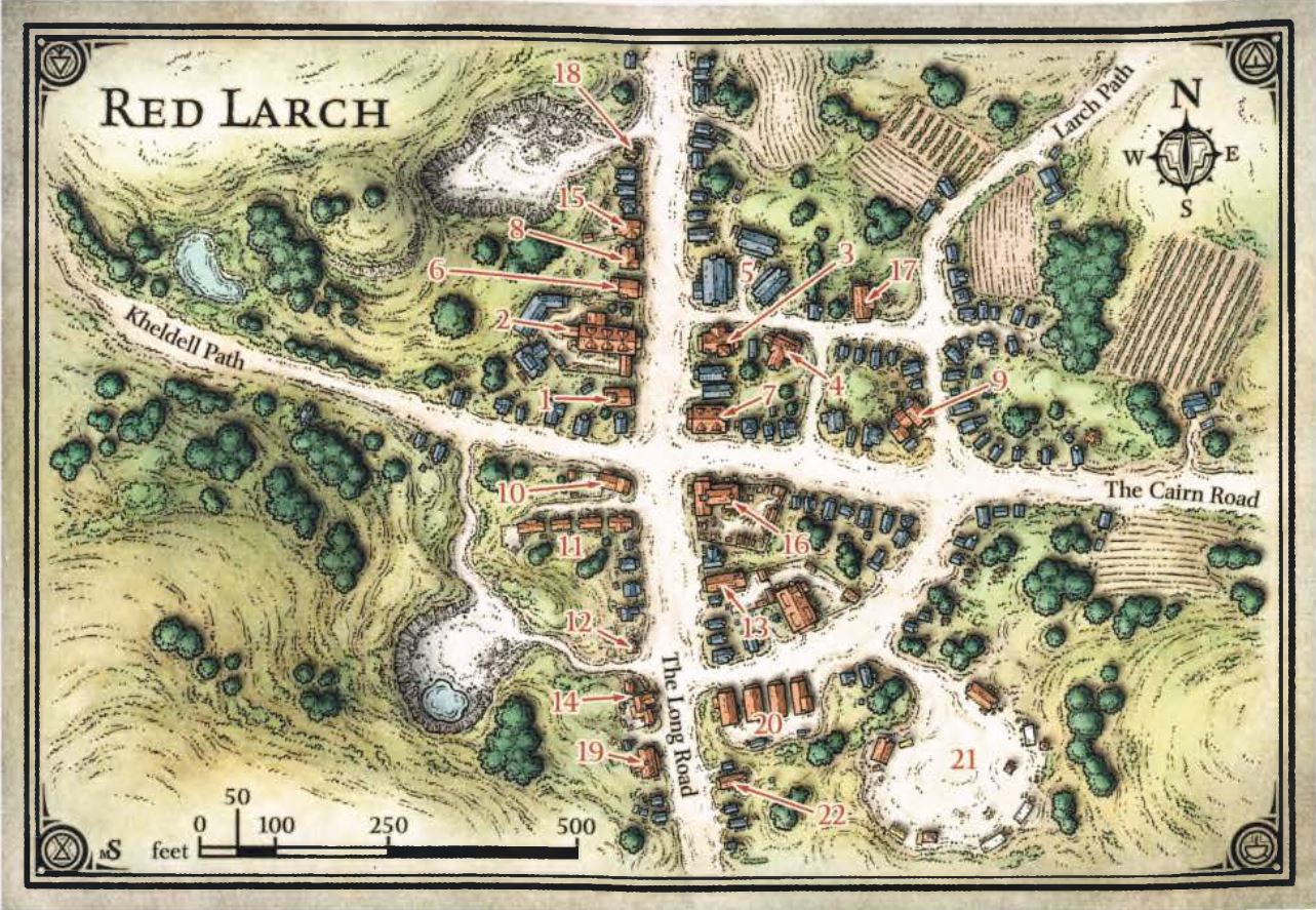 Red Larch Town Map