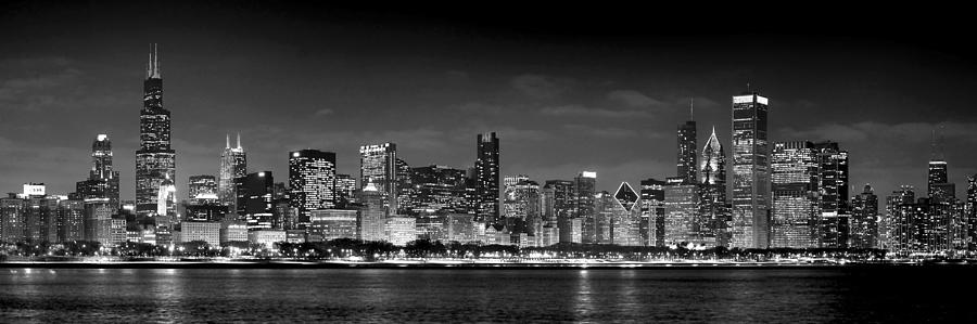 Chicago skyline at night black and white jon holiday