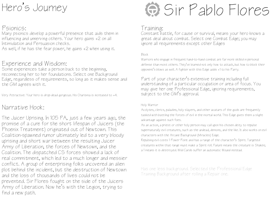 Sir Pablo Flores - Heroic Journey