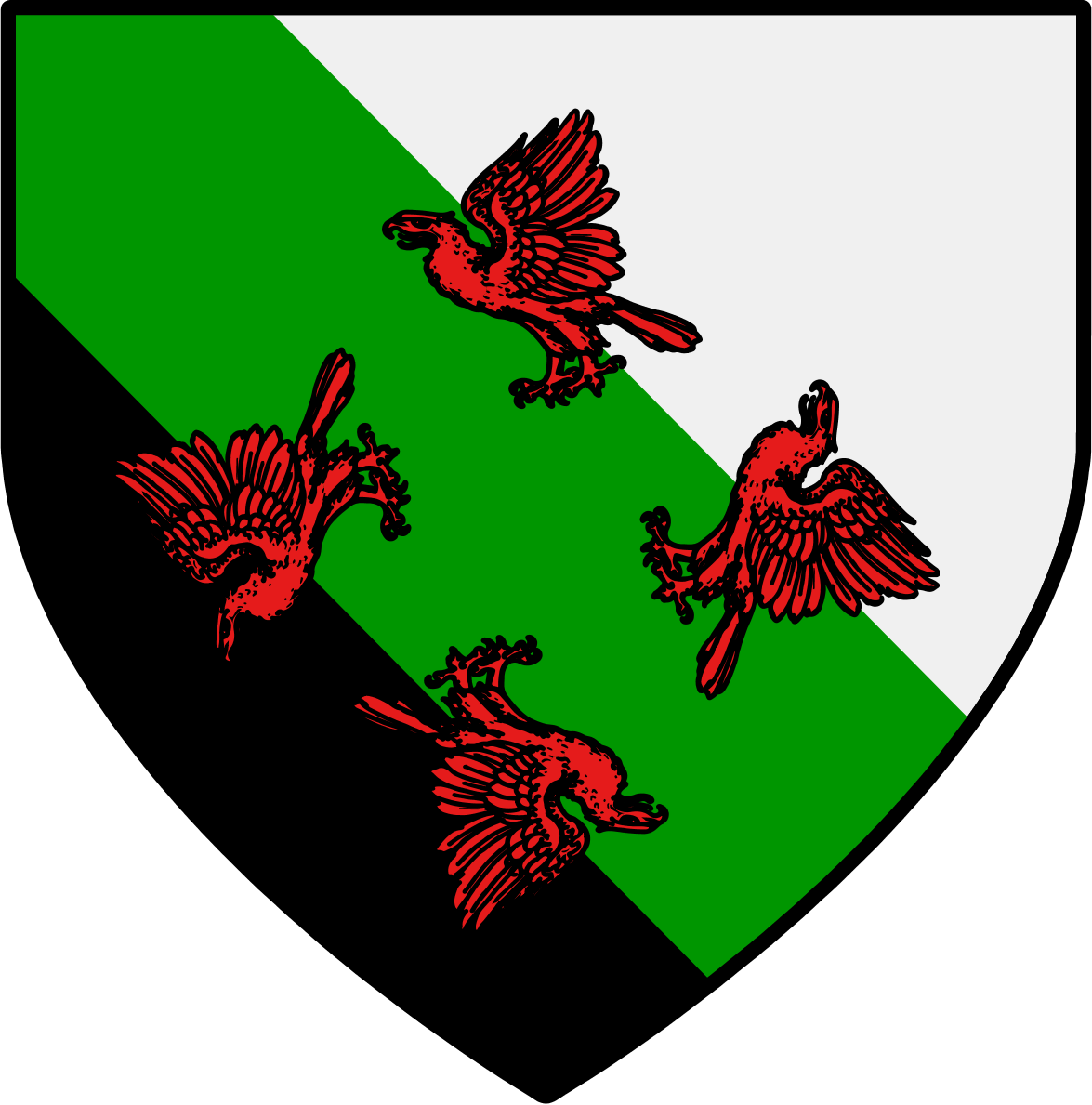 argent_a_four_eagles_chasing_gules_in_full__per_bend_sable__over_a_bend_vert.png