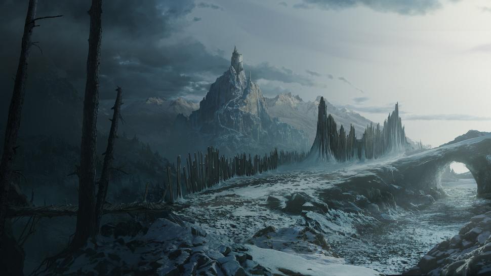Mountain castle snow arch landscape hd 1080p wallpaper middle size