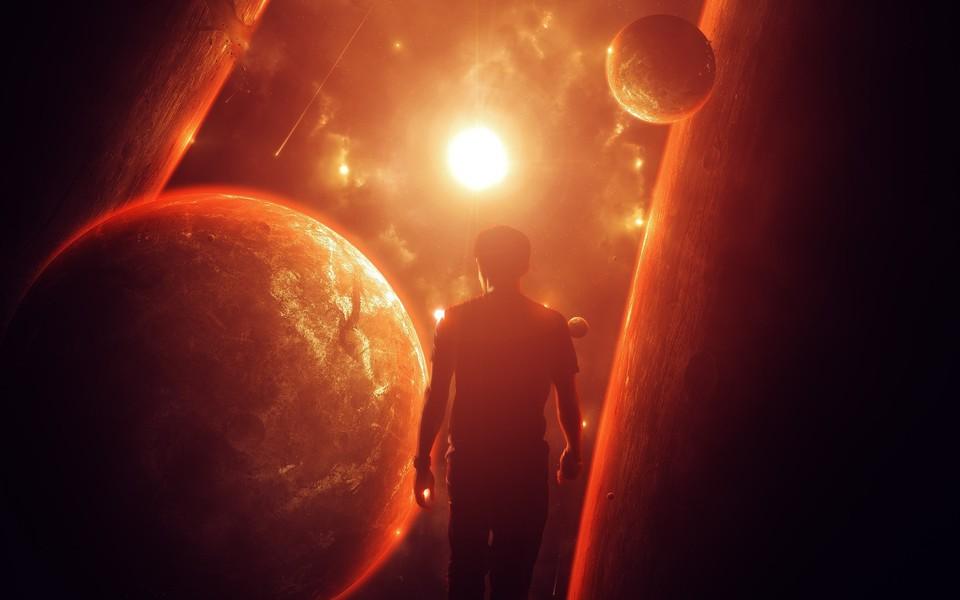 Outer space stars planets men digital art 960x600 wallpaper