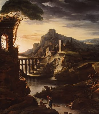 Evening landscape with an aquaduct