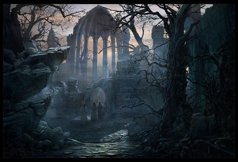 Haunted woods forest eerie