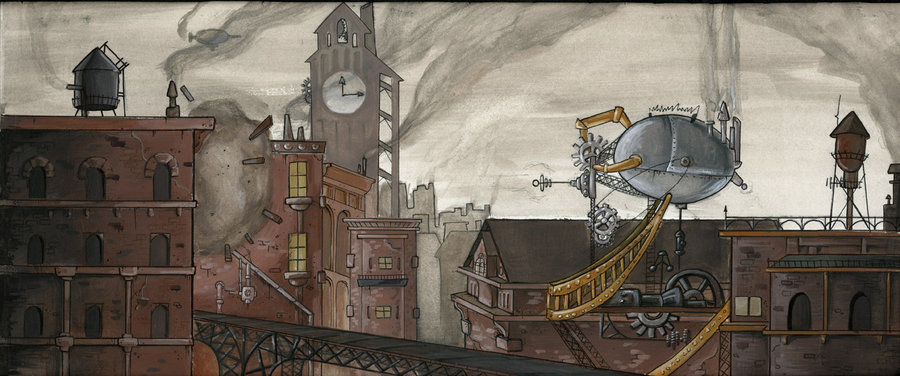 Steampunk city gray draw drawing favim.com 466325