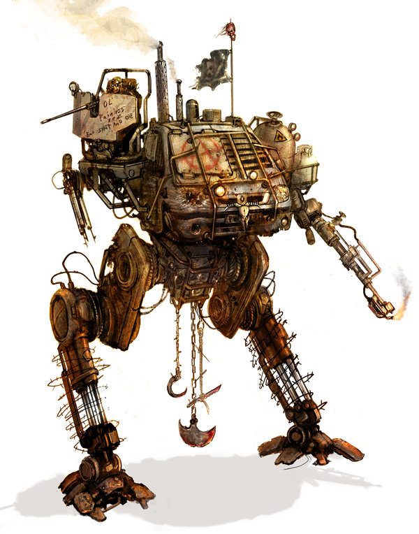 A Satyr-class mecha made of junked parts.