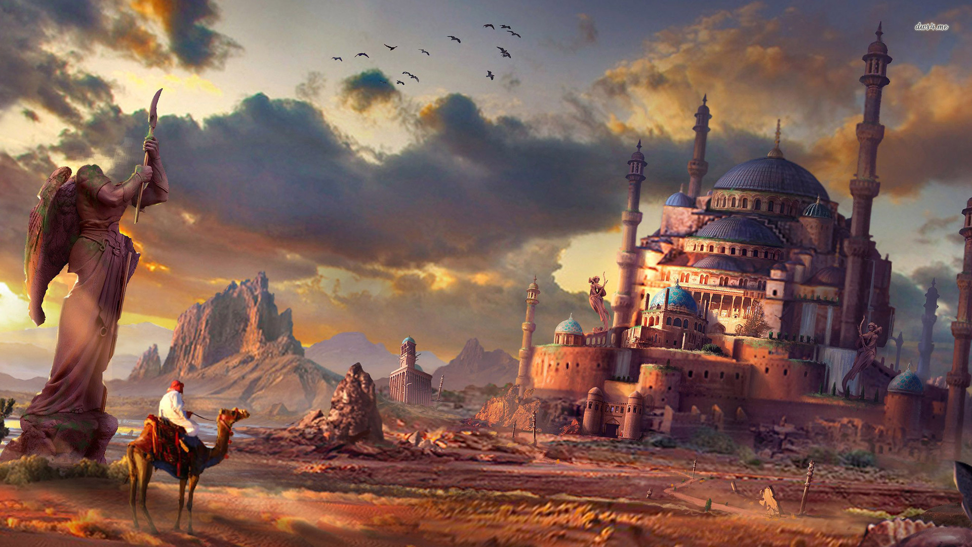 24855 travelling to the desert kingdom on a camel 1920x1080 fantasy wallpaper