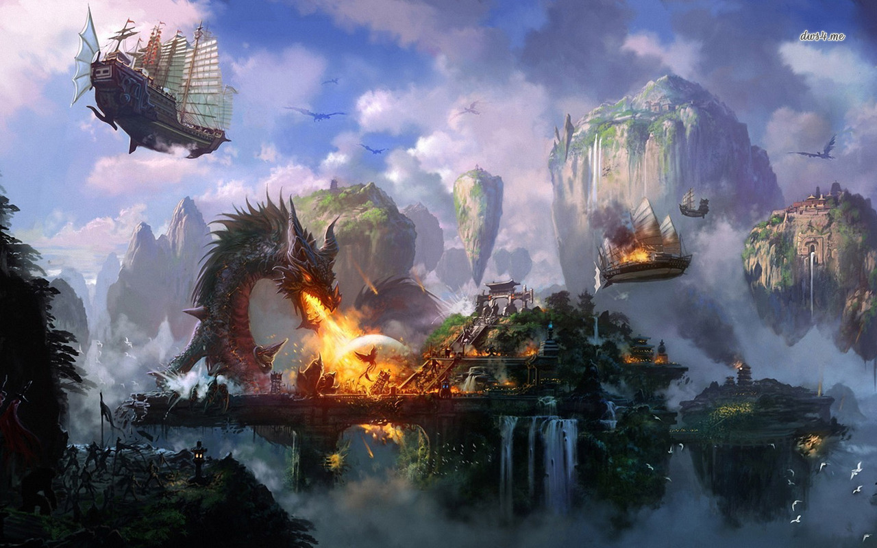 Dragon burning down the city fantasy 341711