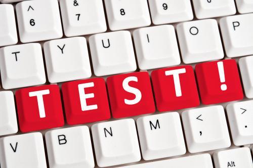 Bigstock test word on white keyboard 27134336