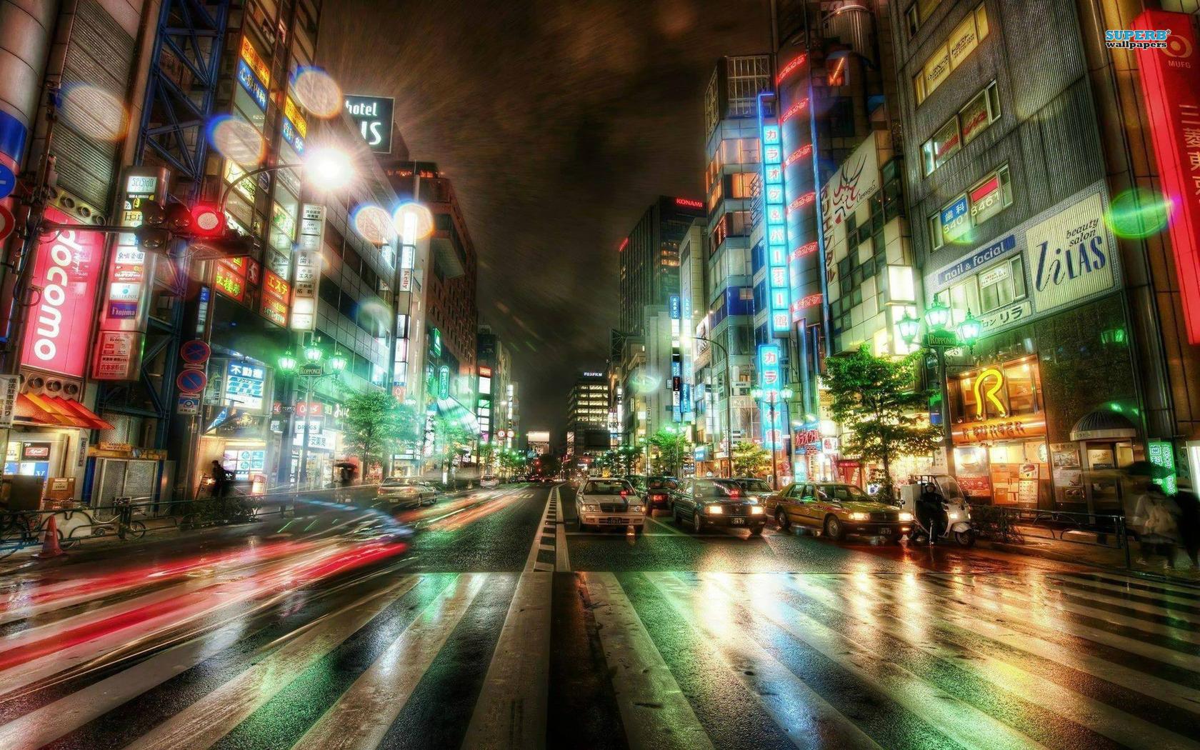 Tokyo street night wallpaper
