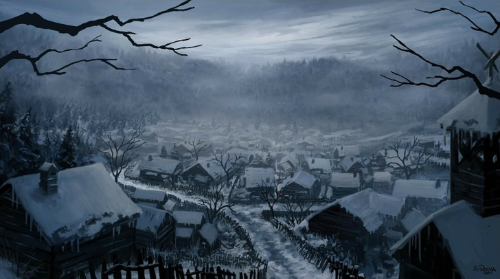 Mountains winter snow trees cityscapes houses fantasy art digital art artwork medieval portuguese  www.wallpaperfo.com 73
