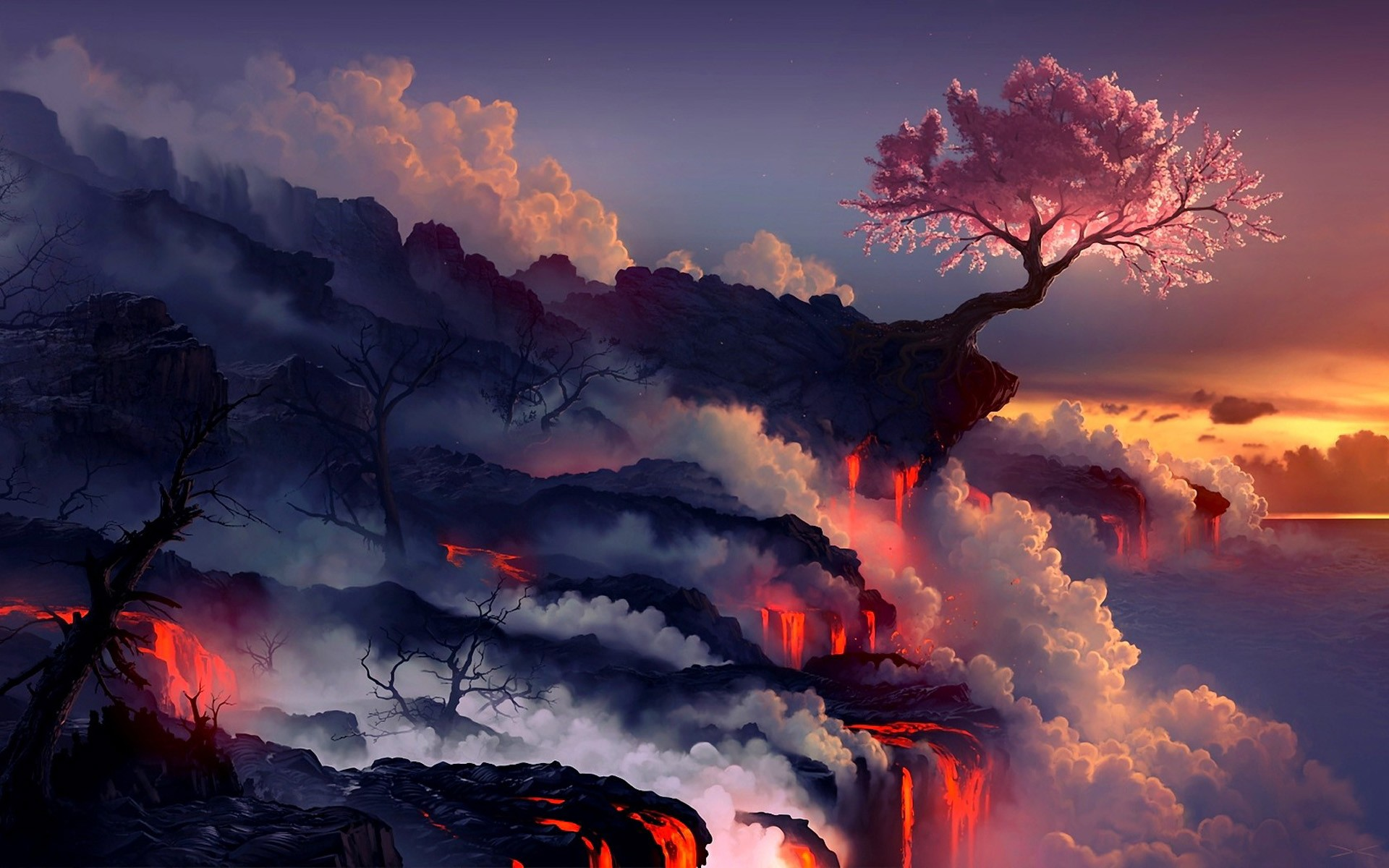 Landscapes cherry blossoms trees seas lava smoke rocks artwork