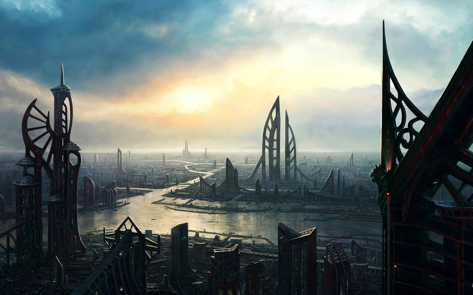 Fantasy cityscape future wallpaper dark  1